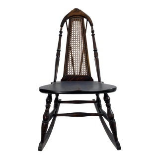Antique Caned Brace-Back Rocking Chair For Sale