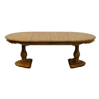 "Bernhardt French Country Style Solid Pecan Double Pedestal 86"" Dining Table For Sale"