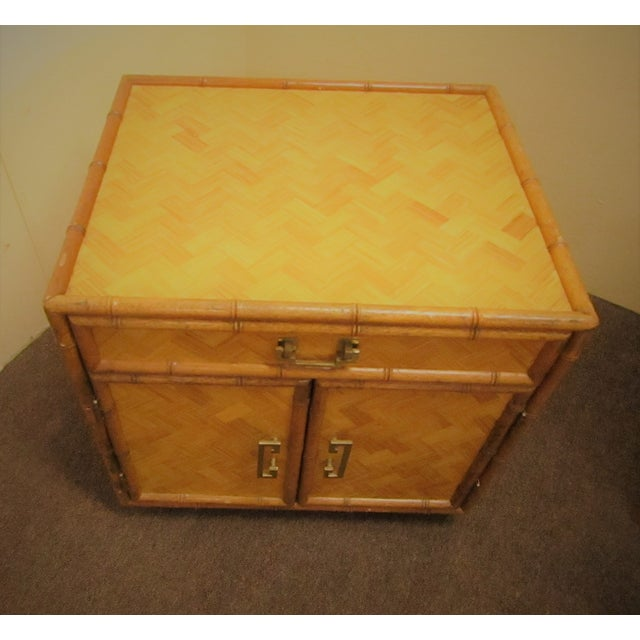 Bamboo Split Bamboo & Woven Accent Table Cabinet For Sale - Image 7 of 7