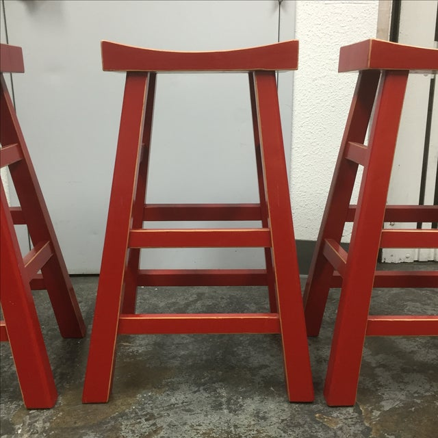 Red Solid Wood Stools - Set of 3 - Image 10 of 10