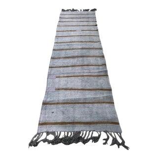 1960s Turkish Kilim Hemp Stripe Runner-2′6″ × 10′1″ For Sale