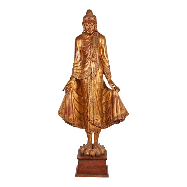 Very Large 19th Century Gold Thai Standing Buddha - Image 1 of 7