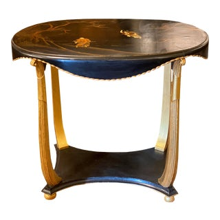 Chinoiserie Oval Side Table With Gilt Legs For Sale