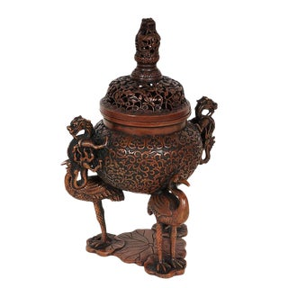 20th Century Chinese Carved Bronze Incense Burner For Sale