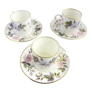 Vintage Fine Porcelain Royal Worcester June Garland England Set of 3 Demitasse Cups & Saucers For Sale