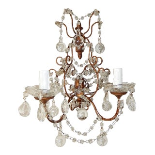 Pair French Macaroni Swags Clear Murano Balls Sconces For Sale