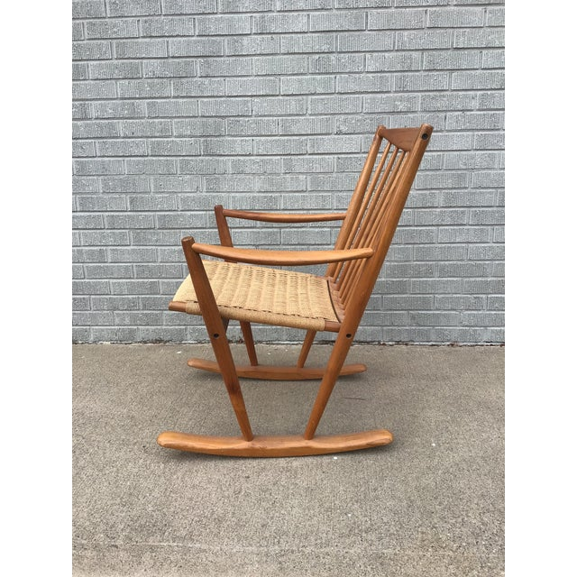 Danish Modern Corded Seat Teak Rocking Chair For Sale - Image 4 of 8