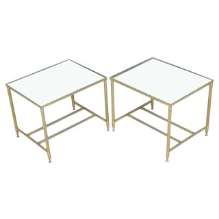Brass Framed Side Tables W/Mirror Tops For Sale