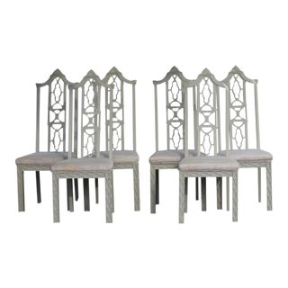 Fretwork Chinese Chippendale White Dining Side Chairs - Set of 6