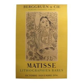 "1954 Original Matisse Exhibition Poster - ""Lithographies Rares"" - Berggruen & Cie. For Sale"