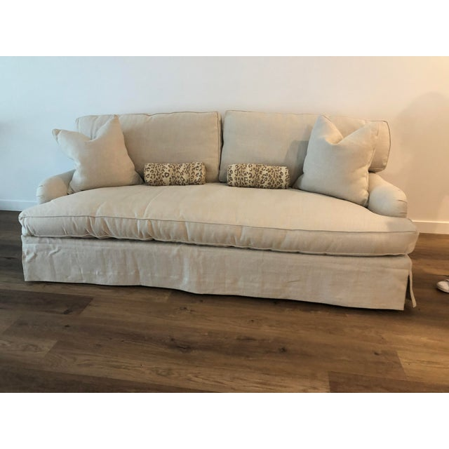 Traditional Lee Industries Down FIlled Belgain Linen Sofa For Sale - Image 3 of 13