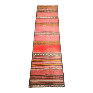 1950s Moroccan Red and Orange Wool Kilim Runner - 2′1″ × 7′4″