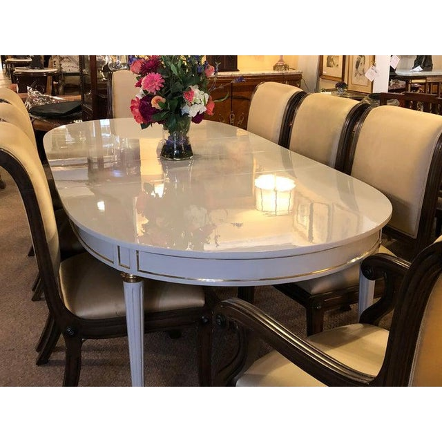 Hollywood Regency Dining Table In Gray Lacquered Bronze Mounted Finish Chairish