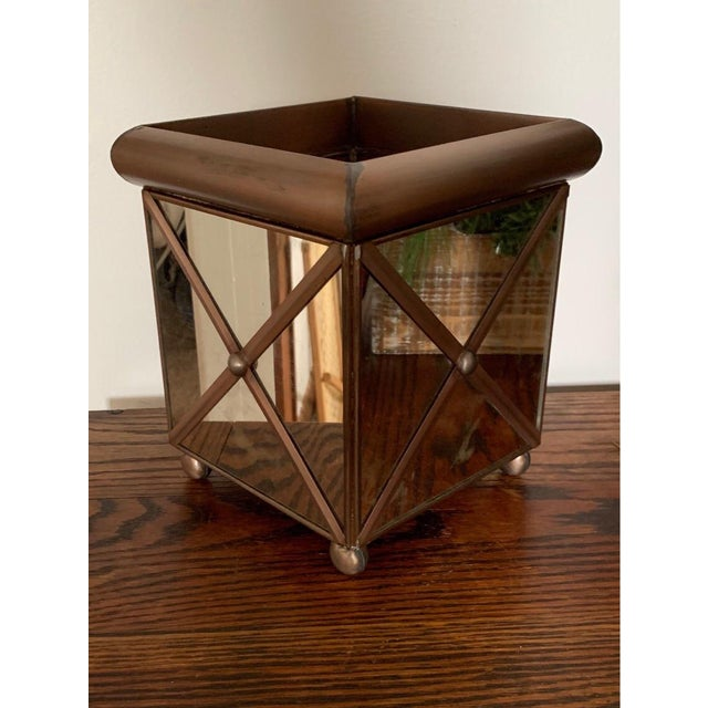 The Worlds Away medium crosshatch antique mirror planter's simple, classic design allows it to blend seamlessly with most...