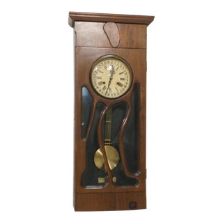 Modernist Studio Craftsman Wood Pendulum Wall Clock For Sale