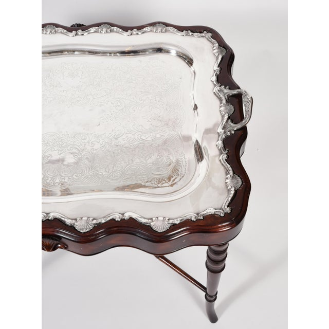 Vintage Mahogany Base Frame Silver Plate Tray Table For Sale In New York - Image 6 of 13