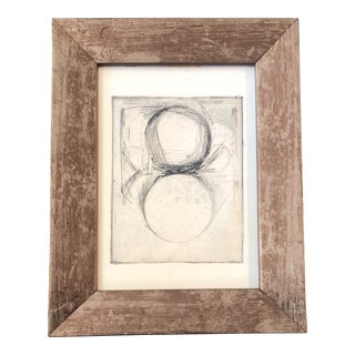 Original Vintage Abstract 1960's Etching Framed For Sale