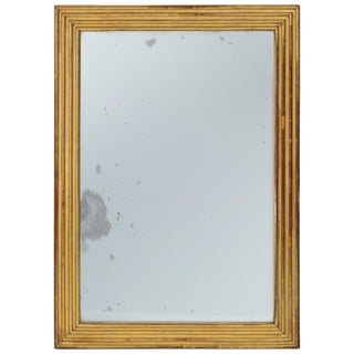 Neoclassical Italian Gilded Rectangular Mirror With Ribbed Carving For Sale