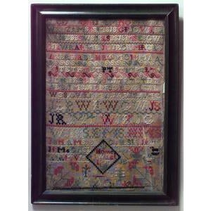 Americana 19th Century American Country embroidered sampler of the alphabet in green frame For Sale - Image 3 of 3