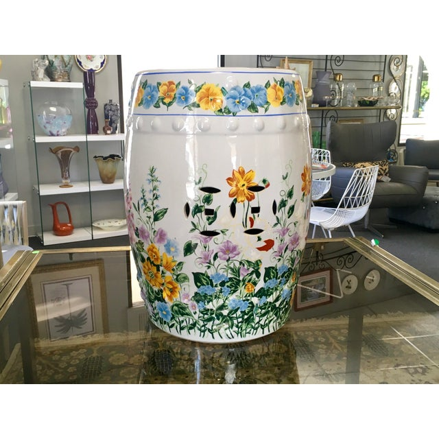 Asian Chinoiserie Floral Garden Seat For Sale - Image 3 of 7