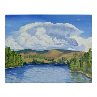 Clouds Over the Lake Acrylic Painting by Jennifer Laurel Keller
