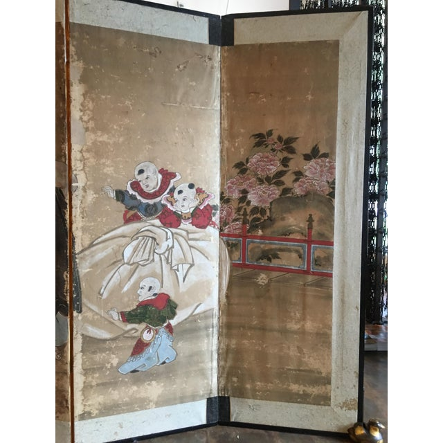 Early 19th Century Japanese Edo Period Six Panel Screen: Hotei and Boys, early 19th century For Sale - Image 5 of 8