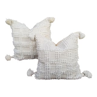 Fluffy Cotton Moroccan Wedding Quilt Pillows Pair For Sale