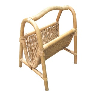 Vintage Rattan Magazine Holder For Sale