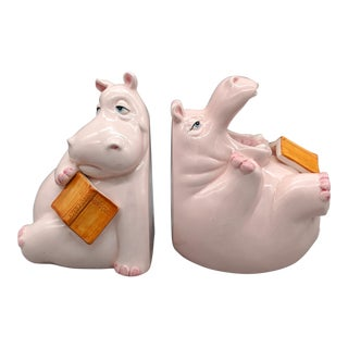 1980's Vintage Fitz & Floyd Hippo Bookends - a Pair For Sale