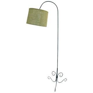 French 1950s Green Floor Lamp For Sale