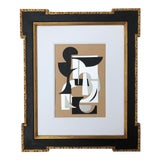 Image of Abstract Mixed Media Collage in Vintage Gilt and Ebony Frame For Sale