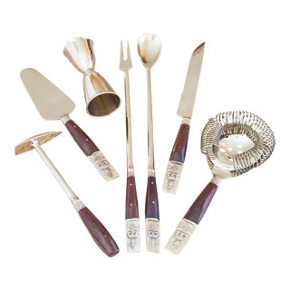 1960s Thai Bronzeware and Rosewood Bar Tools Set- 7 Pieces For Sale