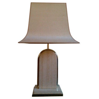 Stunning Italian Travertine & Brass 1970's Lamp - Ipso Facto For Sale