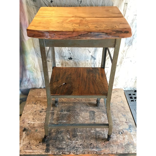 Industrial Rolling Kitchen Cart With Custom Made Wood Shelves
