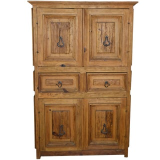 Vintage Natural Wood Indonesian Armoire For Sale
