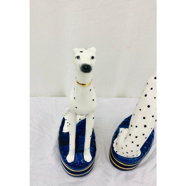Ceramic Pair Painted Porcelain Dog Sculptures For Sale - Image 7 of 10
