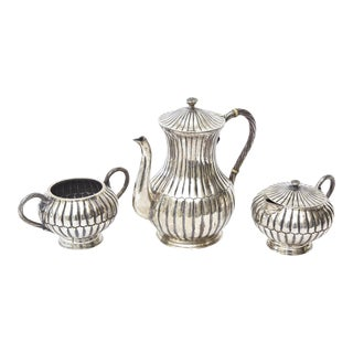 Sterling Silver Hallmarked Sanborn Tea and Coffee Service - Set of 3 For Sale