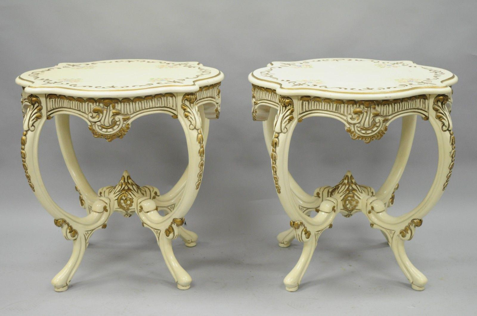 Pair Of Vintage Roma Furniture French Provincial Louis XV Floral Painted End  Tables   Image 3