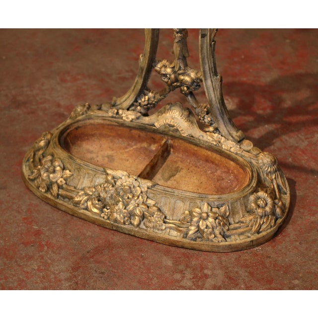 Metal 19th Century French Painted and Gilt Cast Iron Hall Stand Signed Corneau Freres For Sale - Image 7 of 10