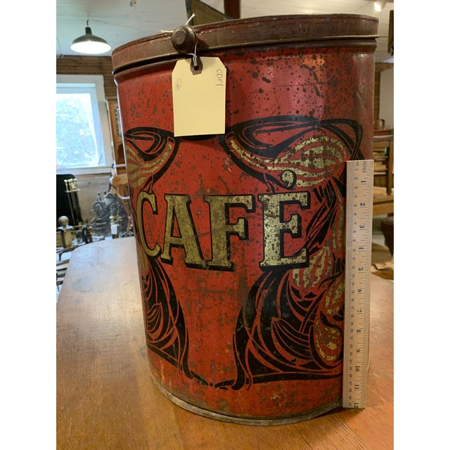 1920s Large French Country Store Coffee Tin For Sale - Image 10 of 11
