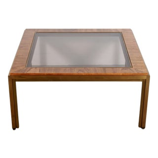 1970s Mid Century Modern Brass Oak & Glass Coffee Table For Sale