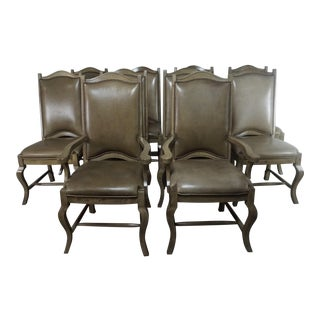 Set of 10 Leather Upholstered French Dining Chairs For Sale