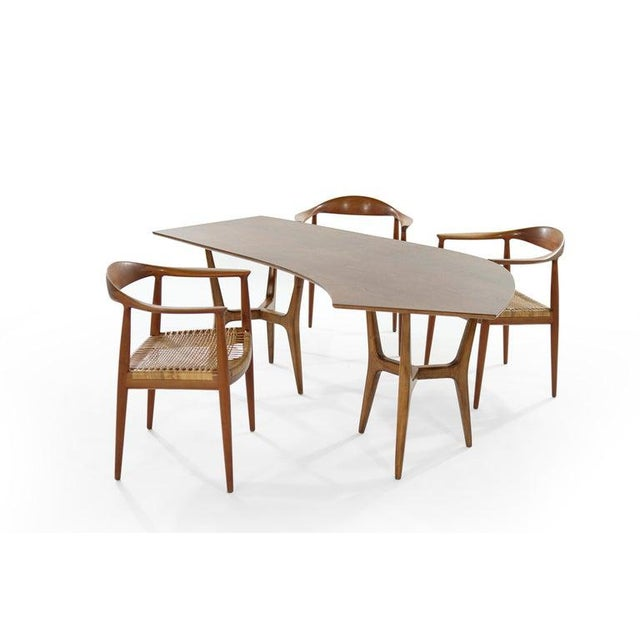 Stunning office ensemble, made up of three Hans Wegner's iconic round chairs, model JH 501, made by Johannes Hansen and an...