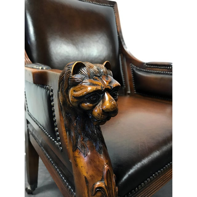 Theodore Alexander Leather Lion Head Chairs - A Pair - Image 7 of 11