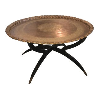 Vintage Brass Moroccan Chai Serving Tray Coffee Table