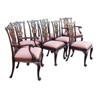 Fantastic Set of 8 Antique English Centennial Carved Mahogany Chippendale Dining Chairs C.1870-1880 For Sale