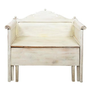 Swedish Painted Storage Bench Ca. 1900 For Sale