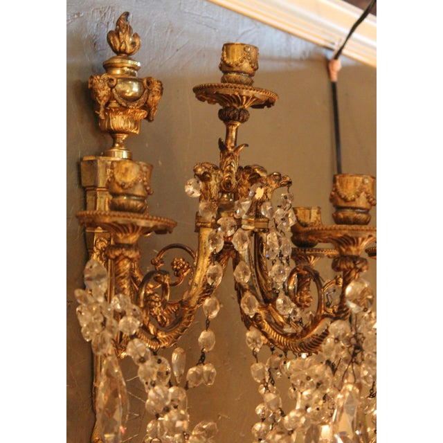 Antique French Bronze & Crystal Sconces - a Pair - Image 8 of 10