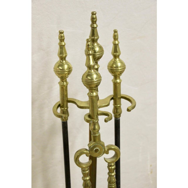 English Traditional 19th C. Brass and Steel Fireplace Tool Set, 3 Pcs For Sale - Image 3 of 5