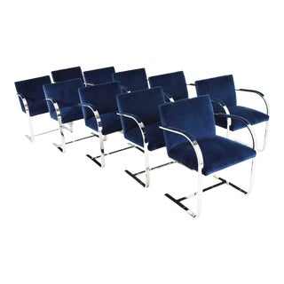 Stainless Steel Flatbar Blue Velvet Brno Chairs by Knoll For Sale